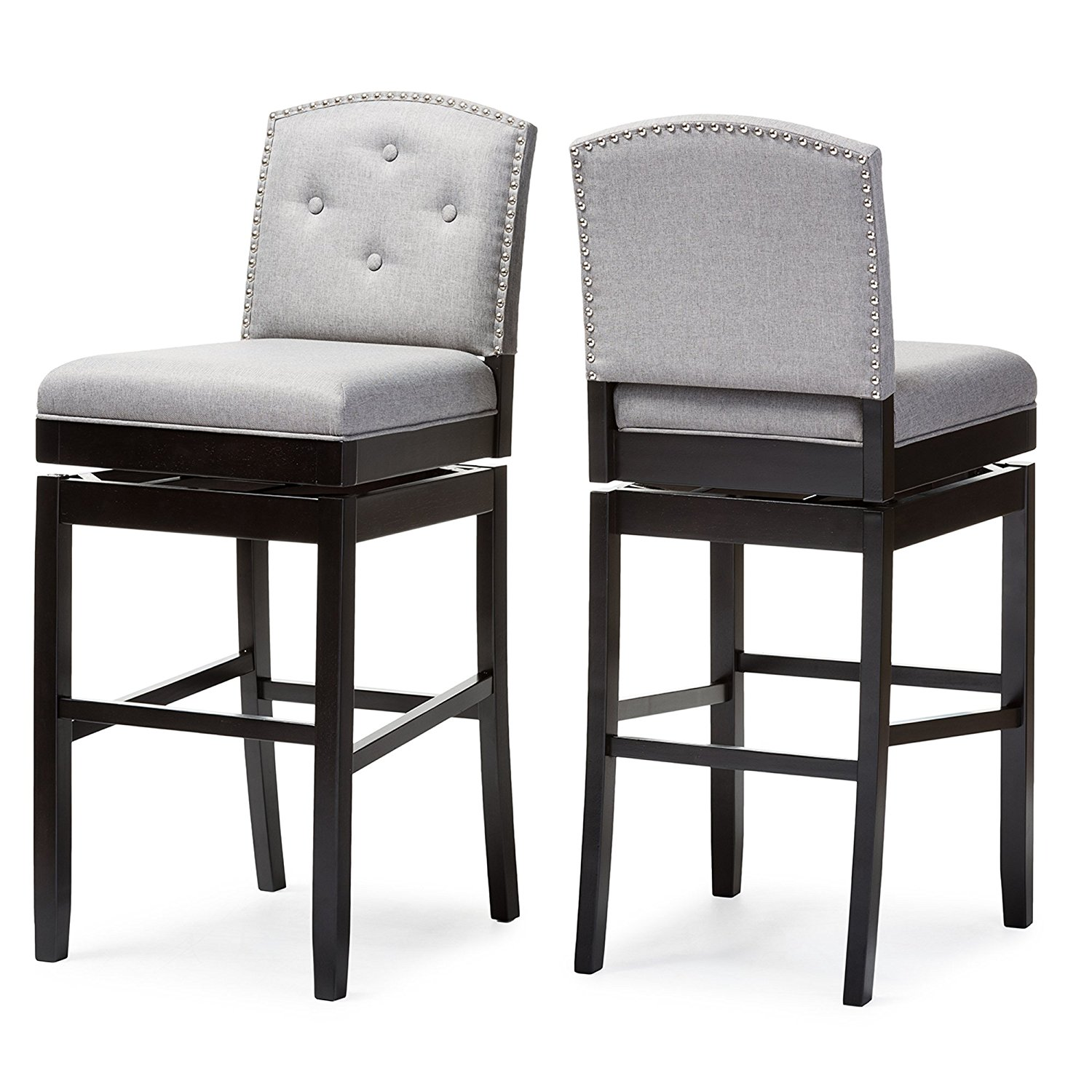 Modern Grey Bar Stools.Details About Baxton Studio Ginaro Set Of 2 Button Tufted Upholstered Swivel Bar Stool In Grey