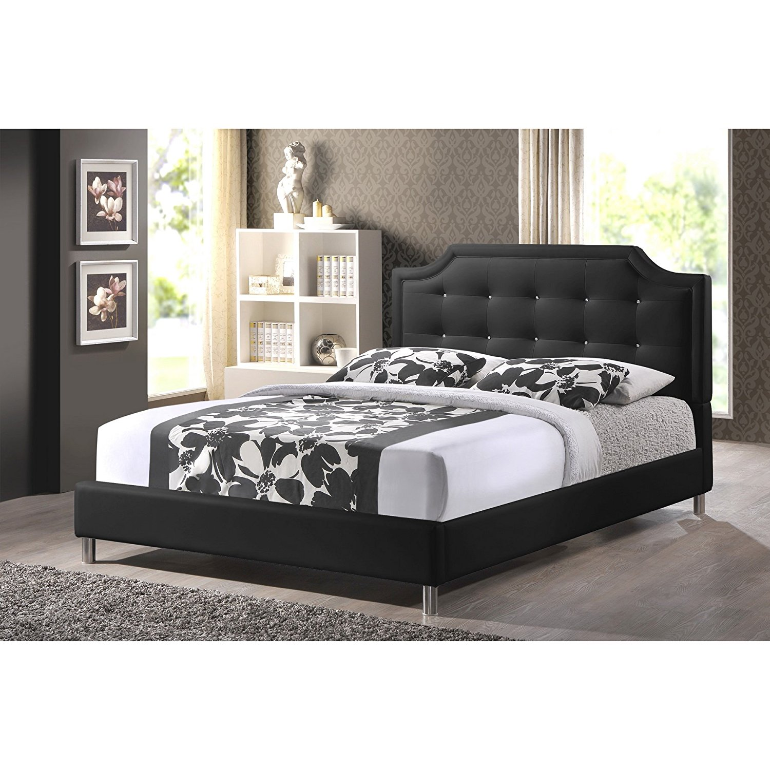 4ff5c33e1316 Details about Baxton Studio Carlotta Modern King Size Bed with Upholstered  Headboard in Black