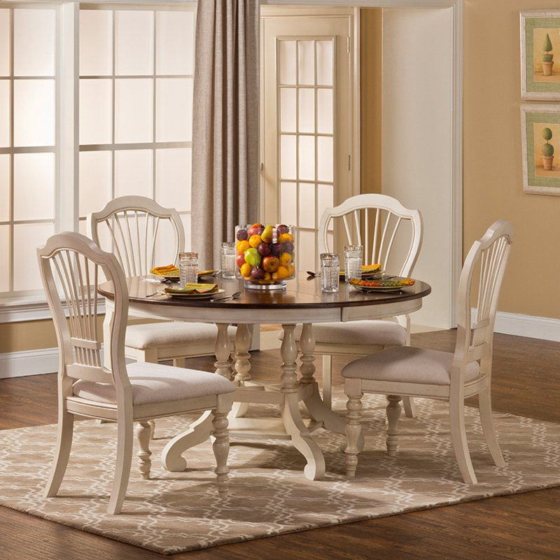 Details About Hillsdale Pine Island 5PC Round Dining Set With Wheat Back  Chairs Old White New