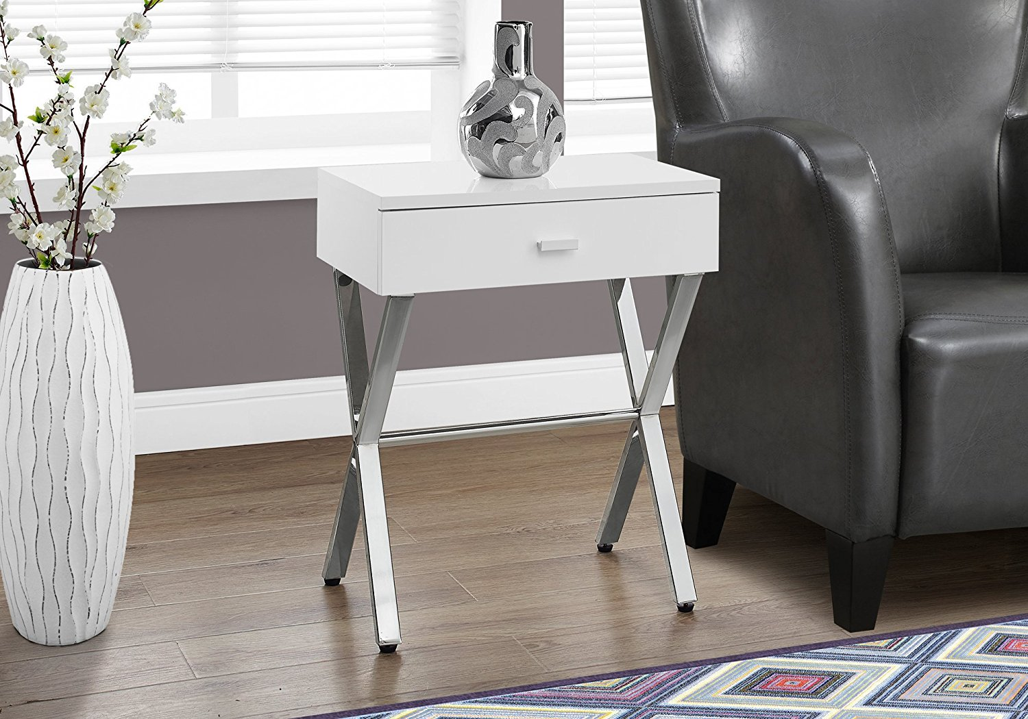 Monarch Specialties I3262 Night Stand Accent Table, Glossy