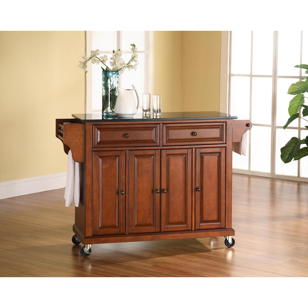 Details About Crosley Furniture Kitchen Island With Solid Black Granite Top In Cherry Finish