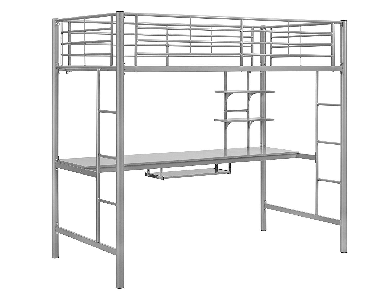 Walker Edison Twin Metal Loft Bed With Workstation In