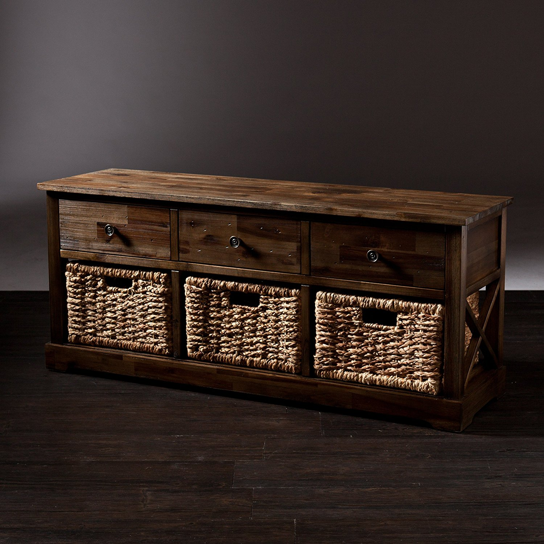 Southern Enterprises Jayton Storage Bench With 3 Woven