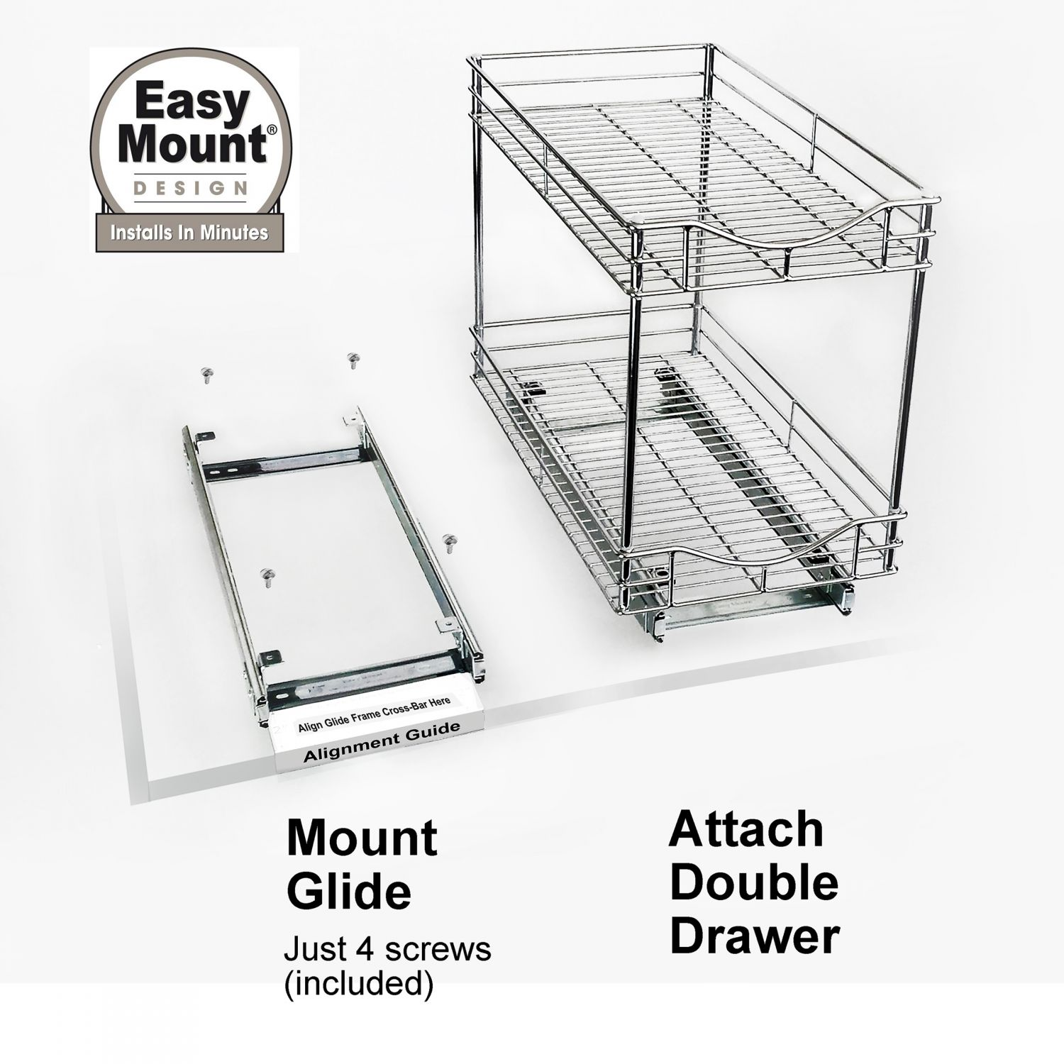 Lynk Roll Out Double Shelf: Lynk Professional Slide Out Double Shelf 11 Inch Wide X 21