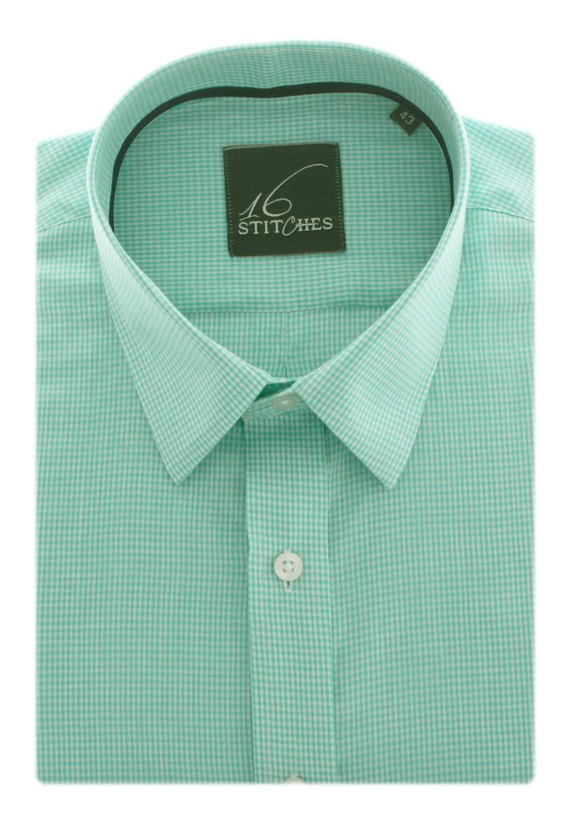 Green Mini Checks in Yarn Dyed Cotton