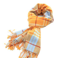 Orange Checks Cashmere Scarf