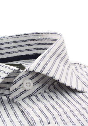 Blue / White Stripes Basket Weave Dobby