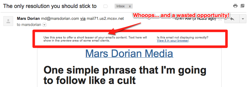 mars dorian pre header fail 5 Rules for SaaS Email Marketing and Transactional Messages