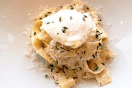 Pappardelle with brown butter hazelnut ragu from The Mansion.