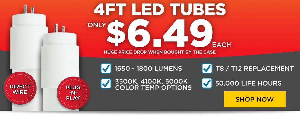 4ft. LED T8 Tubes only $6.99 each