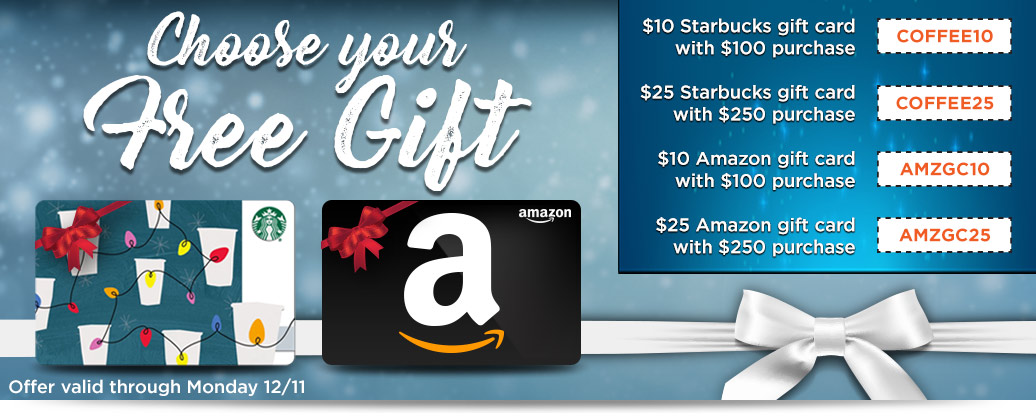 Starbucks and Amazon Gift Cards with Qualifying Purchase!