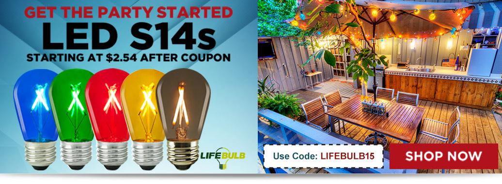 LifeBulb LED S14s, starting at $2.54 after coupon