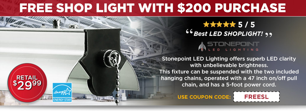 Free Shop Light with a $200 Purchase