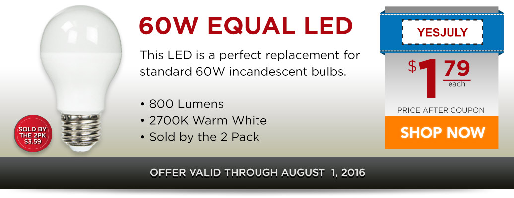 60W Equal Standard Shape LED for $1.79 after coupon!