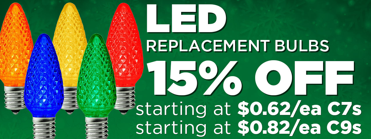 15% Off LED Replacement Bulbs C7s and C9s