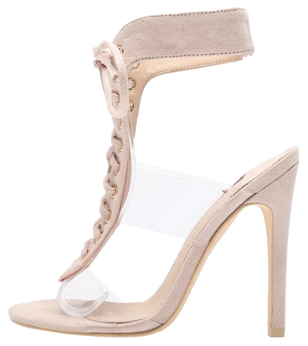 564e89fbee65 Mackin J 213-77 Lucite Clear PVC Open Toe Lace Up Stiletto High Heel Sandals
