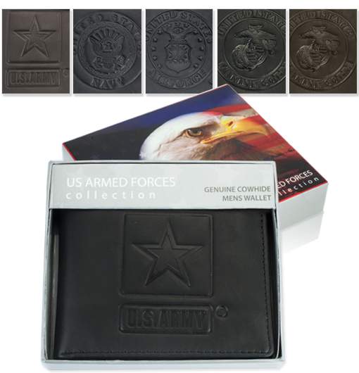 US Armed Forces Leather Bi-fold Wallet-Available in Army, Air Force, Navy, or Marines!