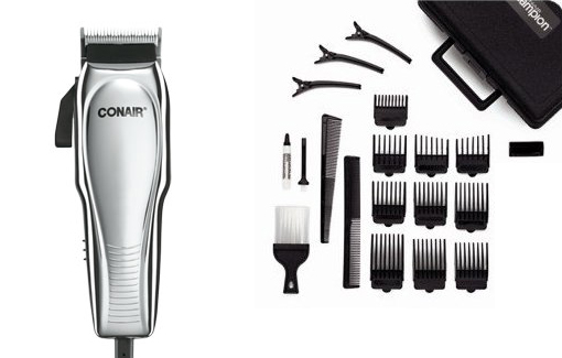 Conair Pro 21-piece Clipper Set with Case, Combs, 3 Styling Clips, Neck Brush, Oil, and Blade Guard! for $19.99