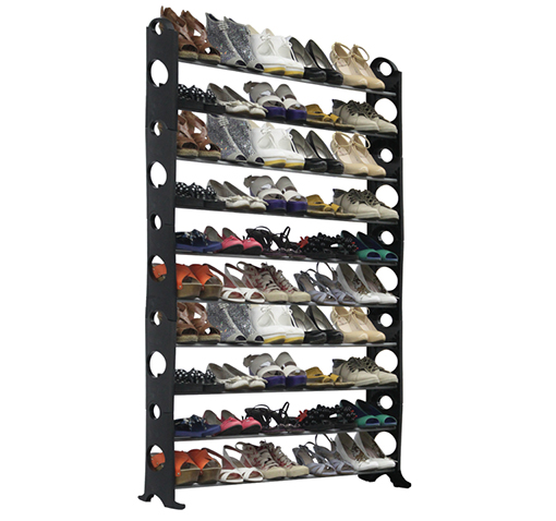 Ten-Tier Shoe Rack with Capacity for Fifty Pairs!