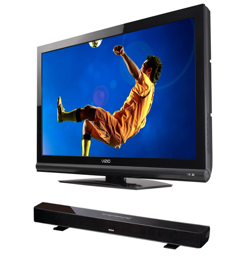 Entertainment Combo: Vizio 37″ LCD HDTV and RCA 3-Channel Soundbar with Built-in WiFi! for $279.99