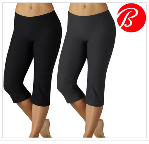 2-Pack: Bally Total Fitness Slim-Fit Performance Capri Leggings in Black and Grey!