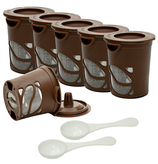 6-Pack: Imperial Home Reusable Coffee Pods for K-Cup Single Serve Coffee Machines with 2 Bonus Scoops!