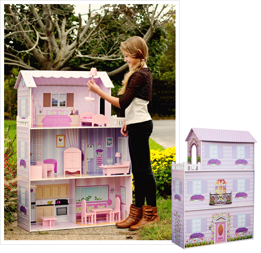 Furniture For Dollhouse To 1saleaday Is Offering This Teamson Ecofriendly Fancy Doll Dreamhouse With 14 Pieces Of Handpainted Dollhouse Furniture For 5999 Free Shipping Large Dollhouse Furniture Shipped From