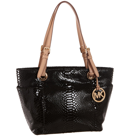 MICHAEL Michael Kors Jet Set Black Patent Python Top-Zip Tote! - Or...