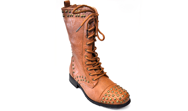 Studded Lace-Up High Boot - Size - 7