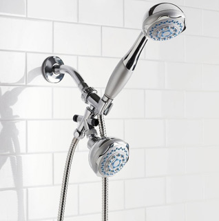 Home Basics Deluxe Twin 5-Function Shower Massager and Head Set!