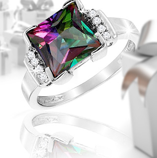 3 Carat Mystic Topaz Gemstone Princess Cut Cocktail Ring!
