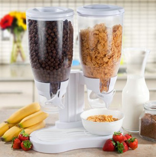 Dual-Container Cereal & Dry Food Dispenser w/Spill Tray & 28 Ounce Capacity – Available in Black or White!