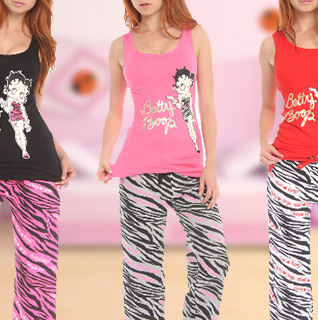 Betty Boop Full Tank Capri Loungewear Set in Variety of Colors – Available in Sizes S-XL!