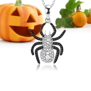 Spooktacular Deal! Black Diamond Accent Sterling Silver Spider Pendant!
