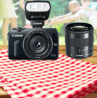 Canon EOS-M Mirrorless 18MP Digital Camera w/18-55mm STM, 22mm STM Pancake Lens & Speedlight 90EX Flash!