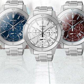 Choice: Seiko Chronograph Date Display Quartz Movement Stainless Steel Bracelet Men's Watch in 4 Colors!