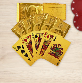 Trademark Poker Certified 99.9% 24-Carat Gold Playing Card Deck w/ Certificate of Authenticity!