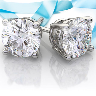1 Carat Diamond 14K White Gold Certified Stud Earrings!