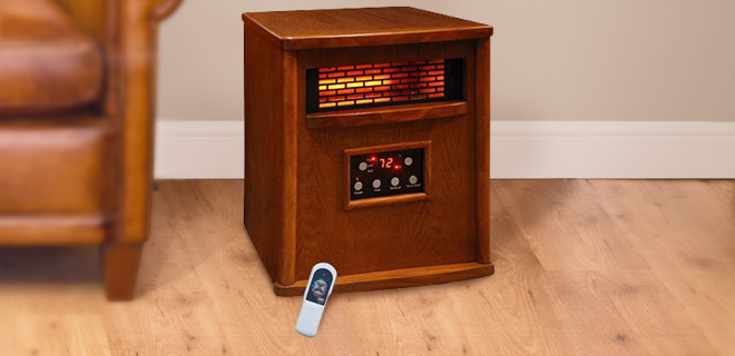 Lifesmart Wood 1500W Infrared Heater w/ Remote Control & Built-In Fan – Heats Up To 1500 Sq. Ft.!