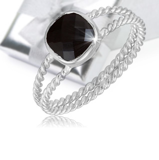 1.50 Carat Black Onyx Sterling Silver Split Shank Twist Band Ring!