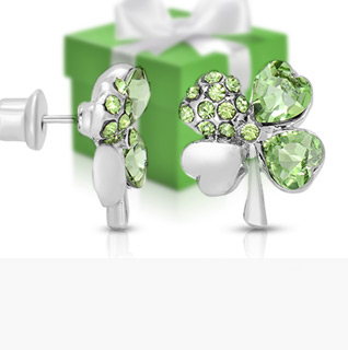 Swarovski Elements Green Crystal Silver-Tone Four Leaf Clover Earrings!