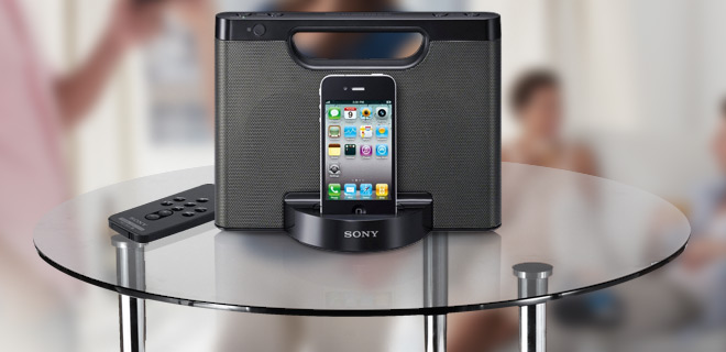Sony iPhone/iPod Portable Speaker Dock w/ Wireless Remote Control, Carry Handle & 3.5mm Auxiliary Input!