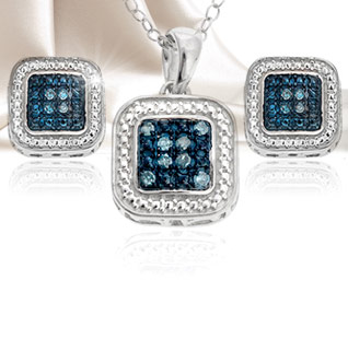 Diamond Sterling Silver Square Pendant or Earrings - Choice of 2 Colors!