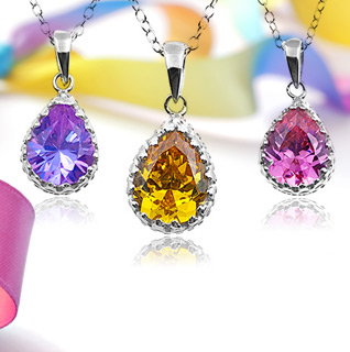CZ Sterling Silver Overlay Pear-Shaped Pendant – Choice of 4 Colors!