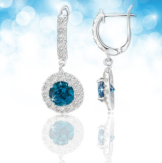 2.50 Carat London Blue & White Topaz Sterling Silver Earrings!