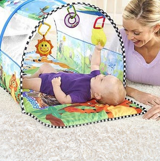 Disney Baby Einstein 2-in-1 Safari Adventure Gym & Tunnel w/ 3 Bonus Toys!