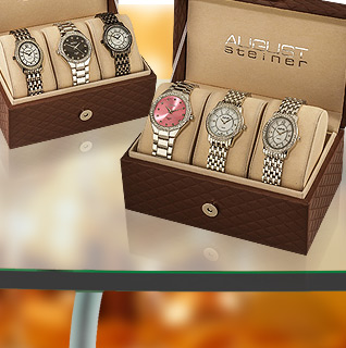 August Steiner Dazzling Diamond Swiss Quartz Ladies' 3 Watch Set!