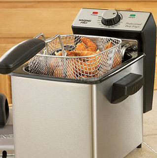 Waring Pro Mini Stainless-Steel Deep Fryer w/ 1.3 LBS. Capacity, 1500-Watt, 2-Quart Capacity & Cool Handles!