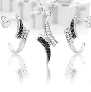 Choice: Sterling Silver 1/10th Ct. Black & White Pendant or Earrings!