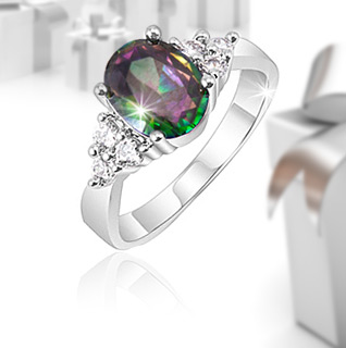 2 Carat Created Mystic Topaz & Crystal Stone Accents Ring!